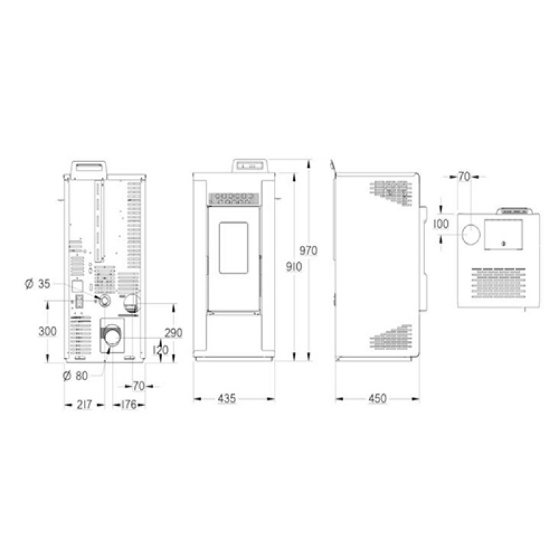 Plano dimensiones Estufa Energreen
