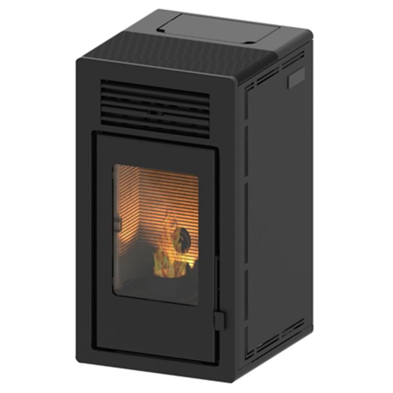 Estufa de pellets canalizable Teide Air 13 kW negro