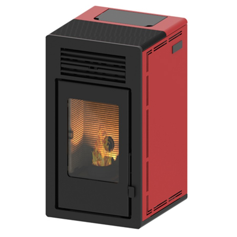 Estufa de pellets canalizable Teide Air 13 kW rojo
