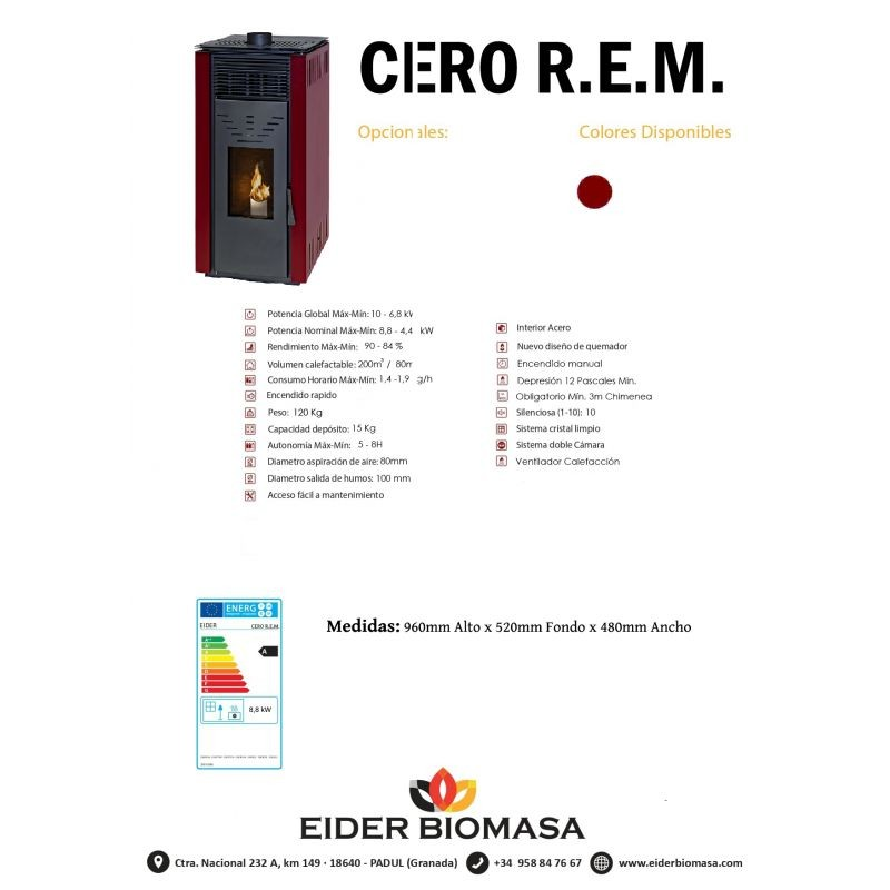 Ficha técnica Estufa pellets Cero R.E.M