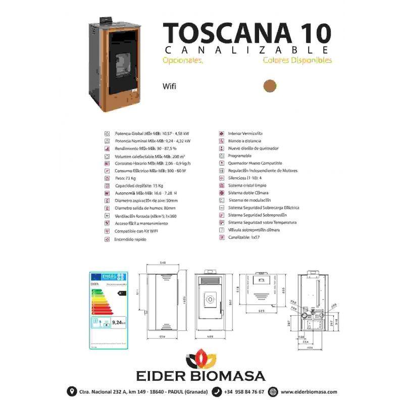 Ficha técnica Estufa Pellets T10 Wood canalizada