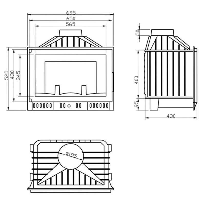 Hogar insertable Tesalia Glass 12 kW medidas