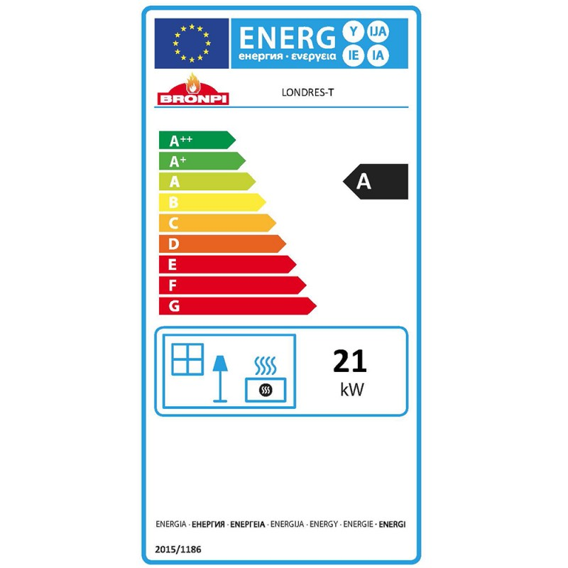 Insertable leña Londres clase energética