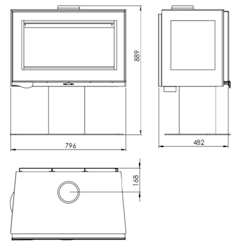 dimensiones estufa mistral trivision de panadero denia