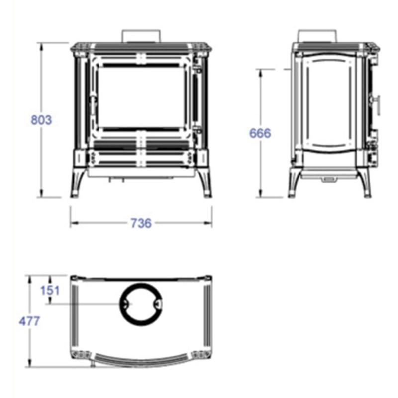 medidas estufa de leña s43 nestor martin