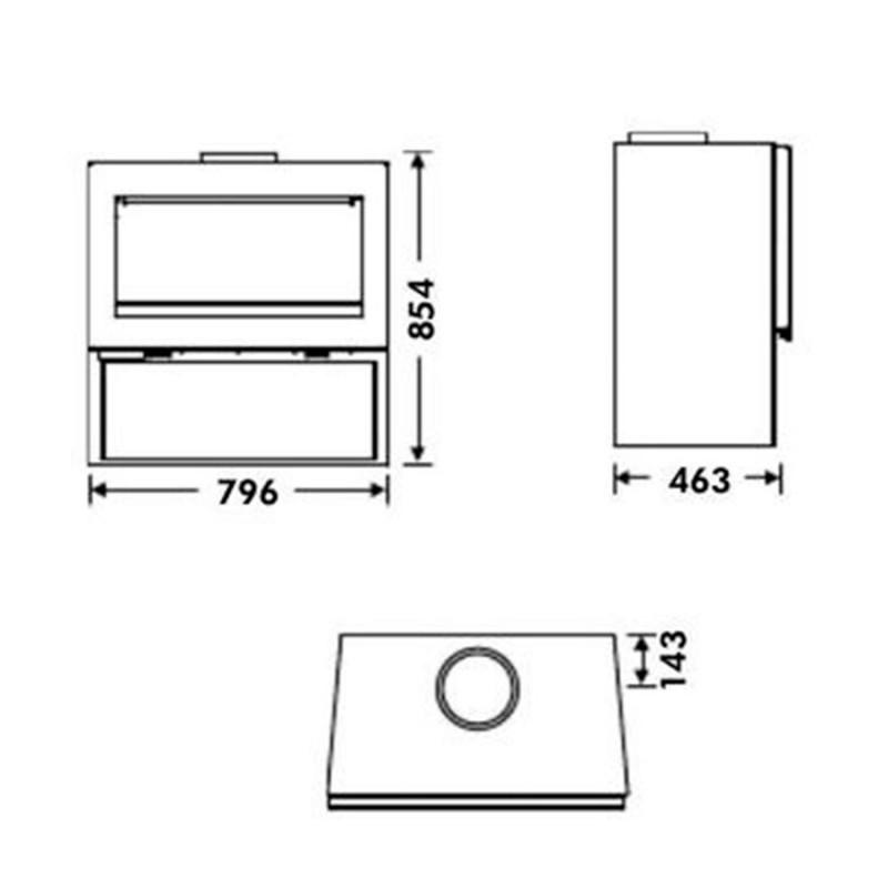 dimensiones estufa de leña fenix ecodesign de panadero
